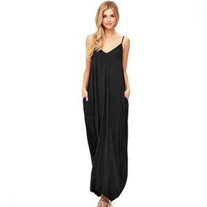 Love Stitch Black Gauze Maxi Dress With Pockets